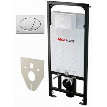 Alcaplast Система инсталляции Sadromodul AM101/1120+M70+M91 4 в 1 кнопка смыва белая