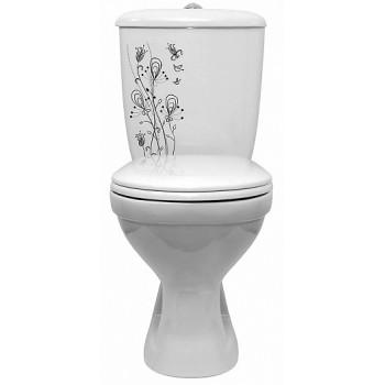Оскольская керамика Унитаз-компакт Суперкомпакт декор цветы